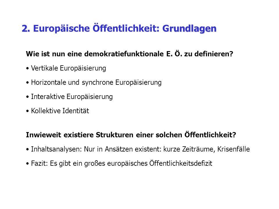 2. rundlagen 2. Europäische Öffentlichkeit: Grundlagen Wie ist nun eine demokratiefunktionale E.