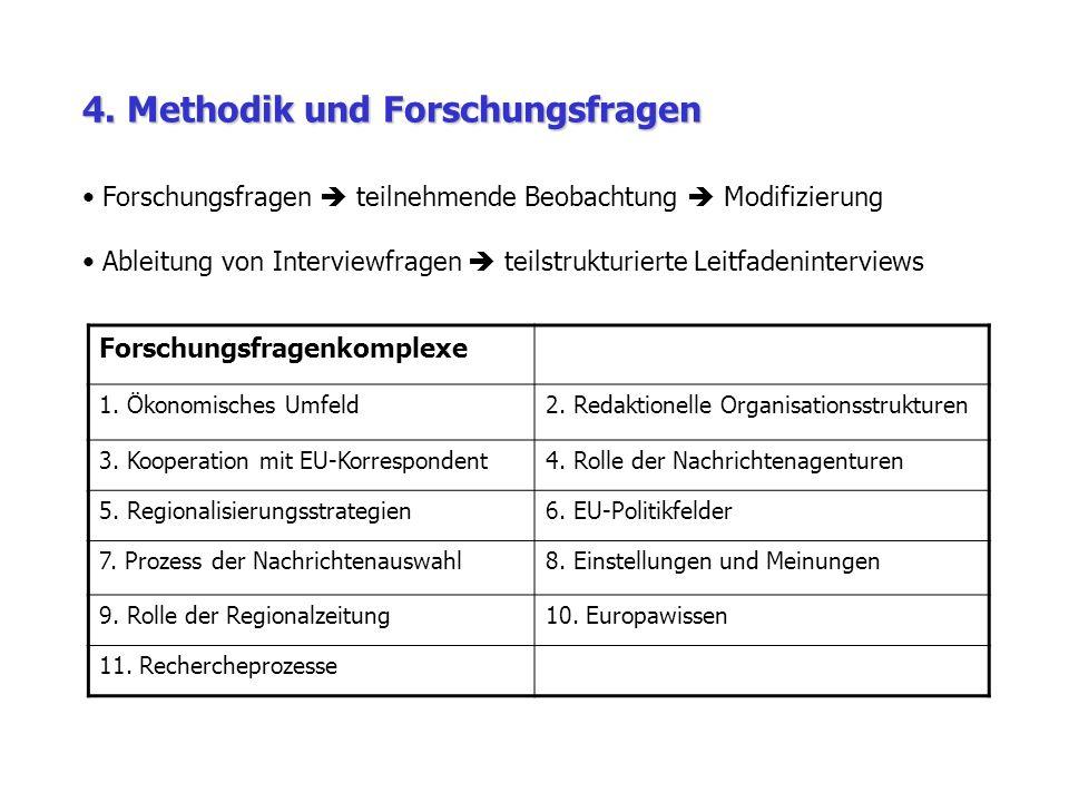 4. Methodik und Forschungsfragen Forschungsfragenkomplexe 1.