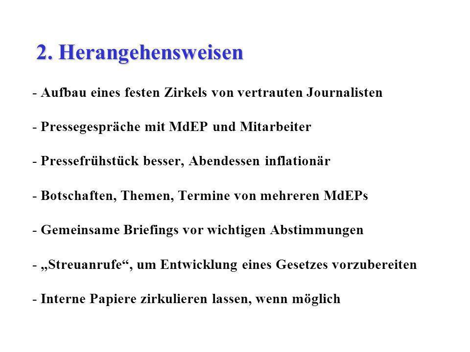 - Aufbau eines festen Zirkels von vertrauten Journalisten - Pressegespräche mit MdEP und Mitarbeiter - Pressefrühstück besser, Abendessen inflationär