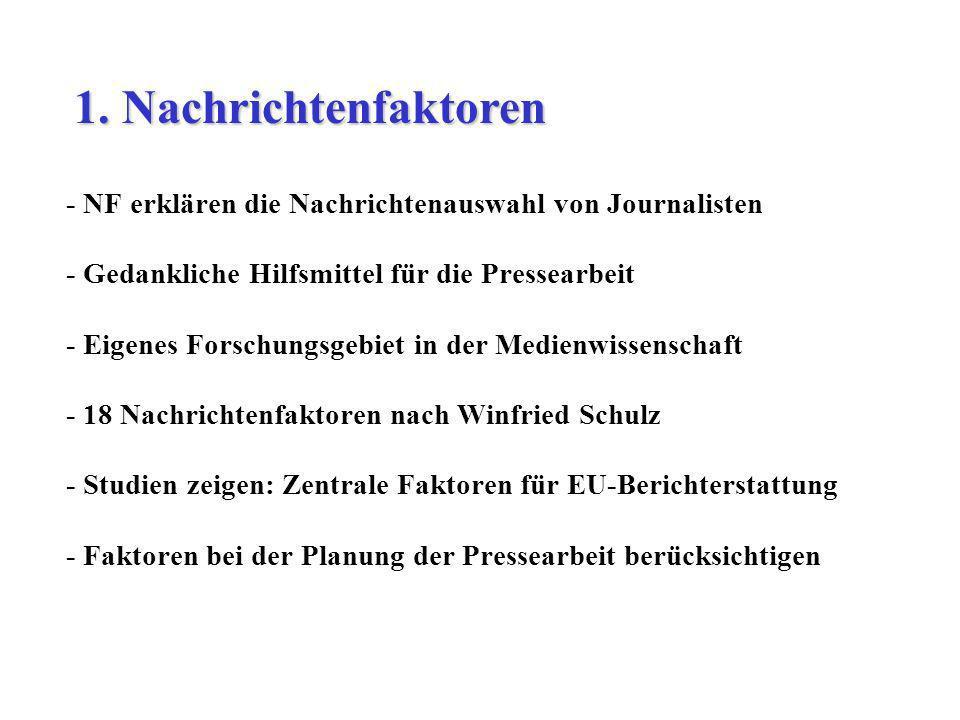 - NF erklären die Nachrichtenauswahl von Journalisten - Gedankliche Hilfsmittel für die Pressearbeit - Eigenes Forschungsgebiet in der Medienwissensch