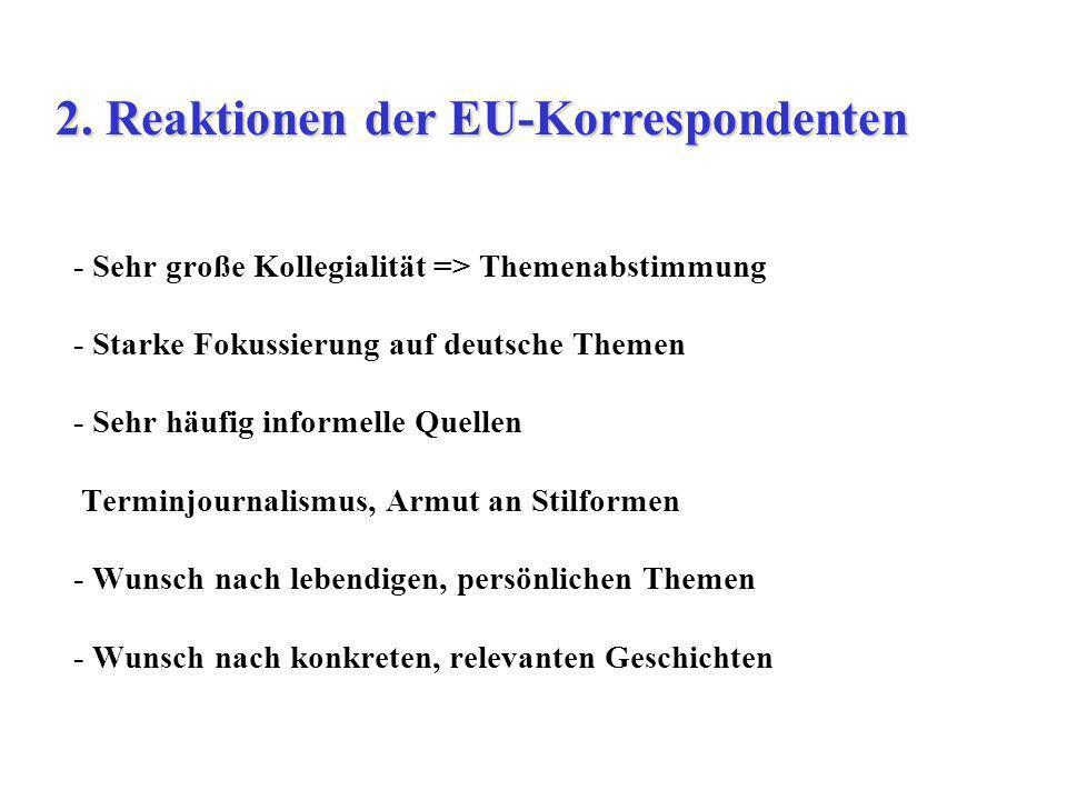 - Sehr große Kollegialität => Themenabstimmung - Starke Fokussierung auf deutsche Themen - Sehr häufig informelle Quellen Terminjournalismus, Armut an