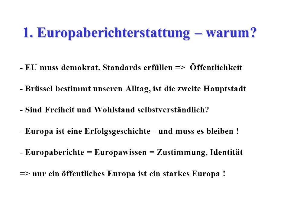 - EU muss demokrat. Standards erfüllen => Öffentlichkeit - Brüssel bestimmt unseren Alltag, ist die zweite Hauptstadt - Sind Freiheit und Wohlstand se