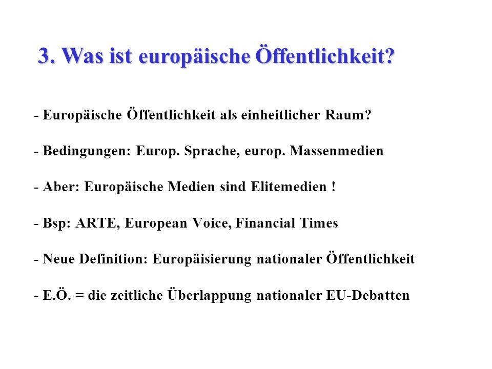 - Europäische Öffentlichkeit als einheitlicher Raum? - Bedingungen: Europ. Sprache, europ. Massenmedien - Aber: Europäische Medien sind Elitemedien !
