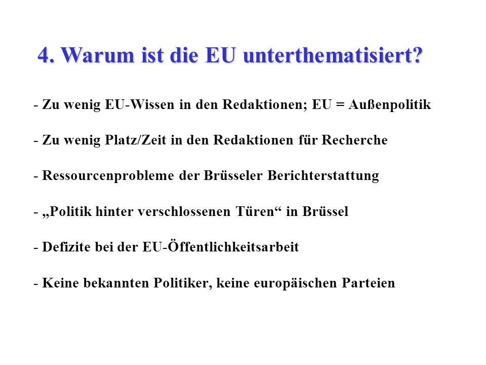 - Zu wenig EU-Wissen in den Redaktionen; EU = Außenpolitik - Zu wenig Platz/Zeit in den Redaktionen für Recherche - Ressourcenprobleme der Brüsseler B