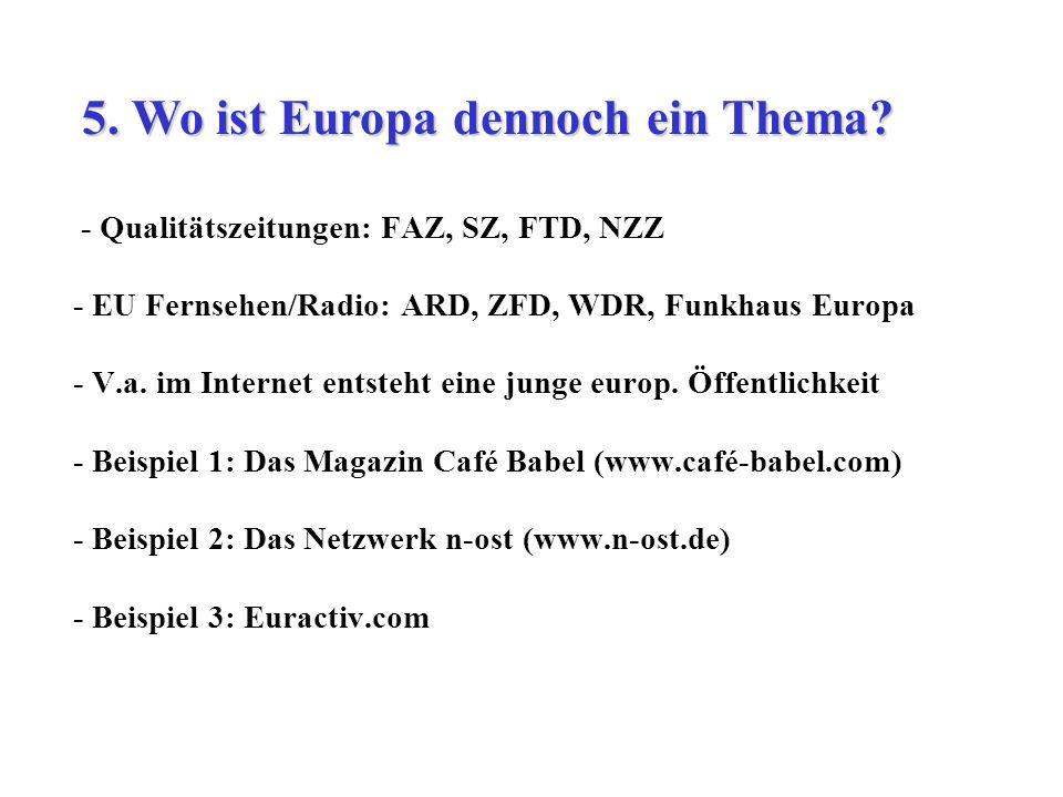 - Qualitätszeitungen: FAZ, SZ, FTD, NZZ - EU Fernsehen/Radio: ARD, ZFD, WDR, Funkhaus Europa - V.a. im Internet entsteht eine junge europ. Öffentlichk