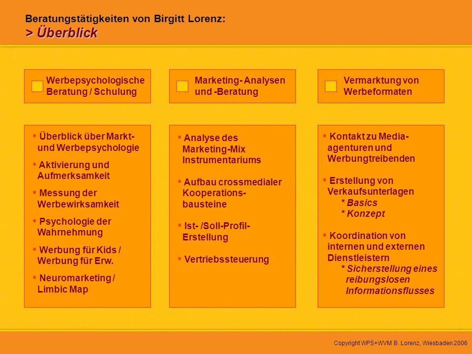 Copyright WPS+WVM B. Lorenz, Wiesbaden 2006 Werbepsychologische Beratung / Schulung Überblick über Markt- und Werbepsychologie Aktivierung und Aufmerk