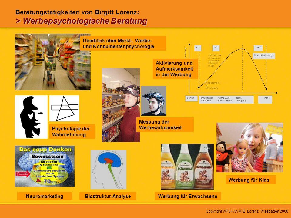 Copyright WPS+WVM B. Lorenz, Wiesbaden 2006 > Werbepsychologische Beratung Beratungstätigkeiten von Birgitt Lorenz: > Werbepsychologische Beratung Übe