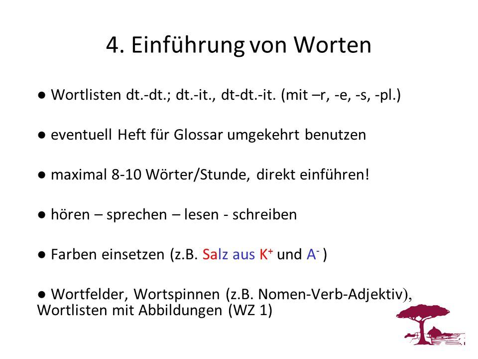 4. Einführung von Worten Wortlisten dt.-dt.; dt.-it., dt-dt.-it. (mit –r, -e, -s, -pl.) eventuell Heft für Glossar umgekehrt benutzen maximal 8-10 Wör