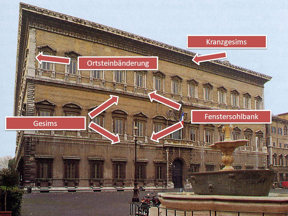 Michelangelo veränderte Zweierlei Erstens: Die Fenster über dem Portal werden zu einer Ehrenloge mit großen Wappenschild. Sie haben keine Giebel, dafü