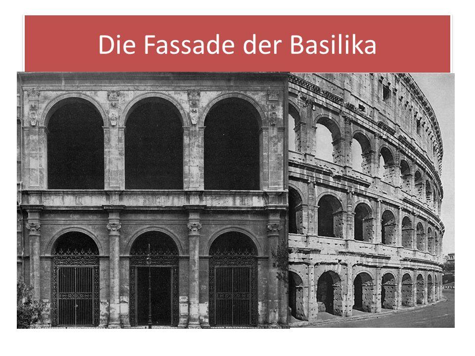 Die Fassade der Basilika Dass der Palazzo Venezia die Residenz eines Papstes war, verdeutlicht die Fassade der Basilika von S. Marco, von deren Oberge