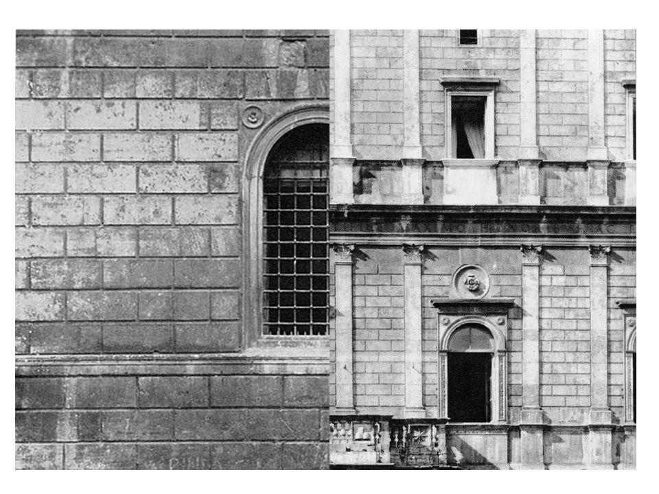 Neu war im römischen Palastbau nicht nur das Riesenmaß (14 Fensterachsen) sondern auch die Verkleidung mit einer Plattenrustika aus Travertin und die