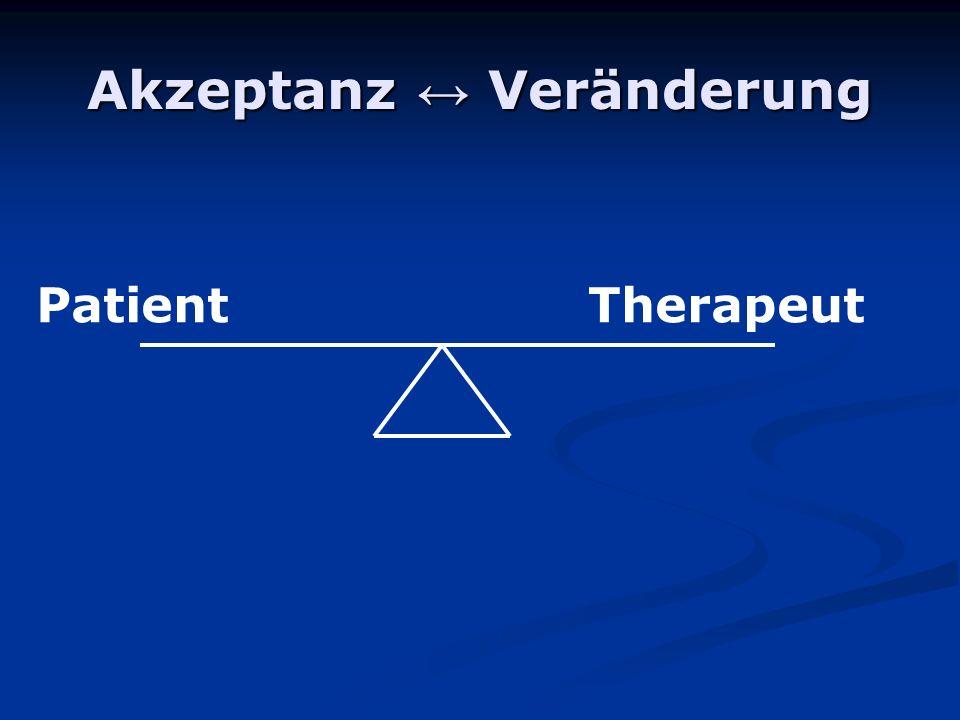 Akzeptanz Veränderung PatientTherapeut