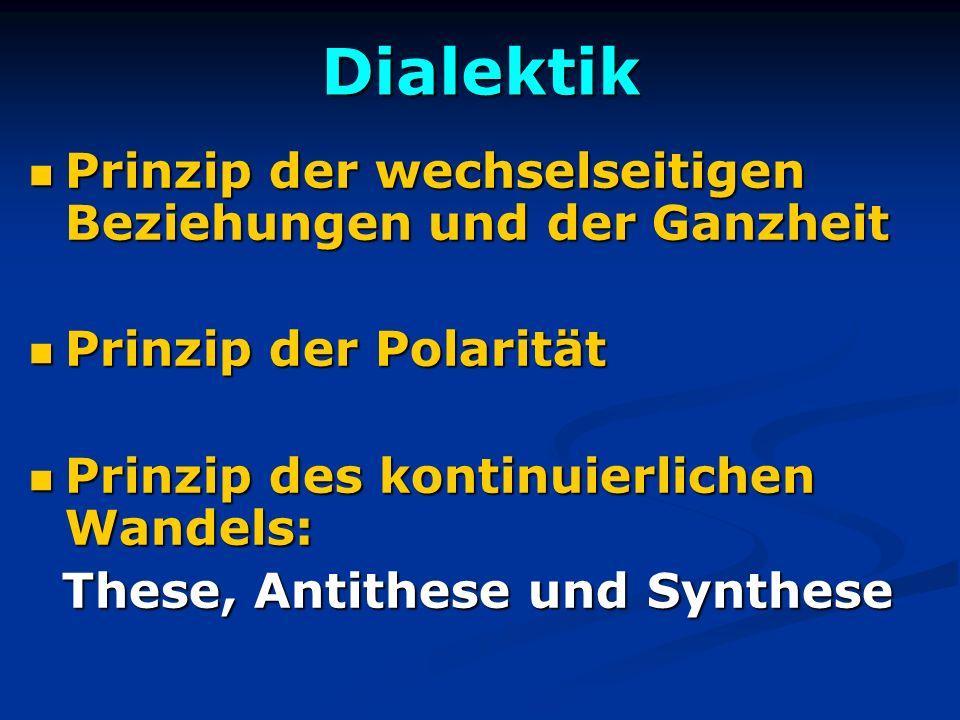 Dialektik Prinzip der wechselseitigen Beziehungen und der Ganzheit Prinzip der wechselseitigen Beziehungen und der Ganzheit Prinzip der Polarität Prin