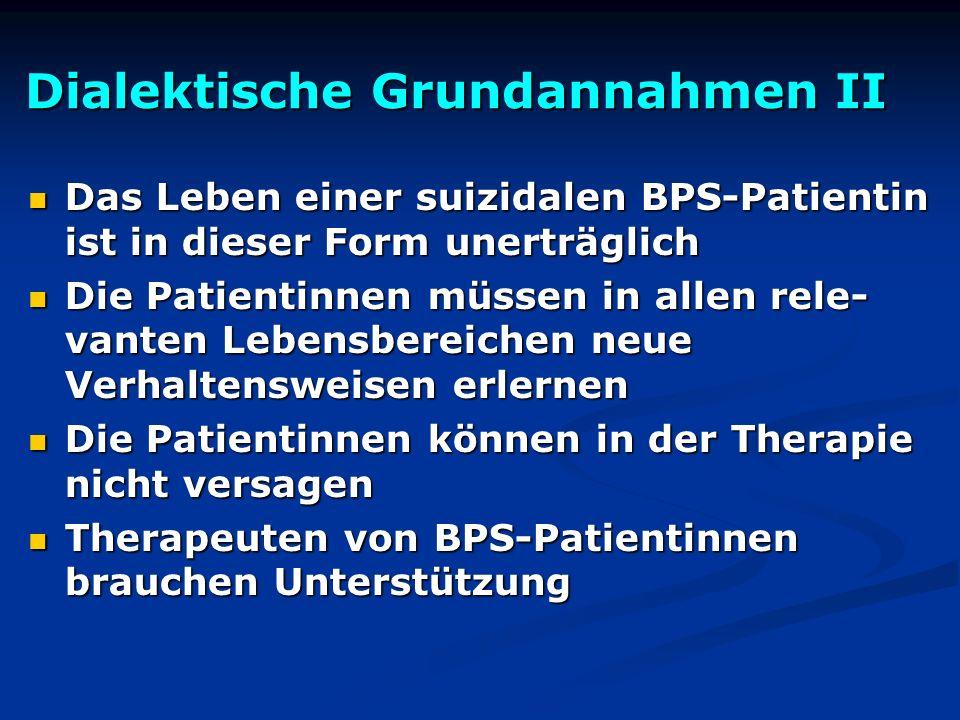 Dialektische Grundannahmen II Das Leben einer suizidalen BPS-Patientin ist in dieser Form unerträglich Das Leben einer suizidalen BPS-Patientin ist in