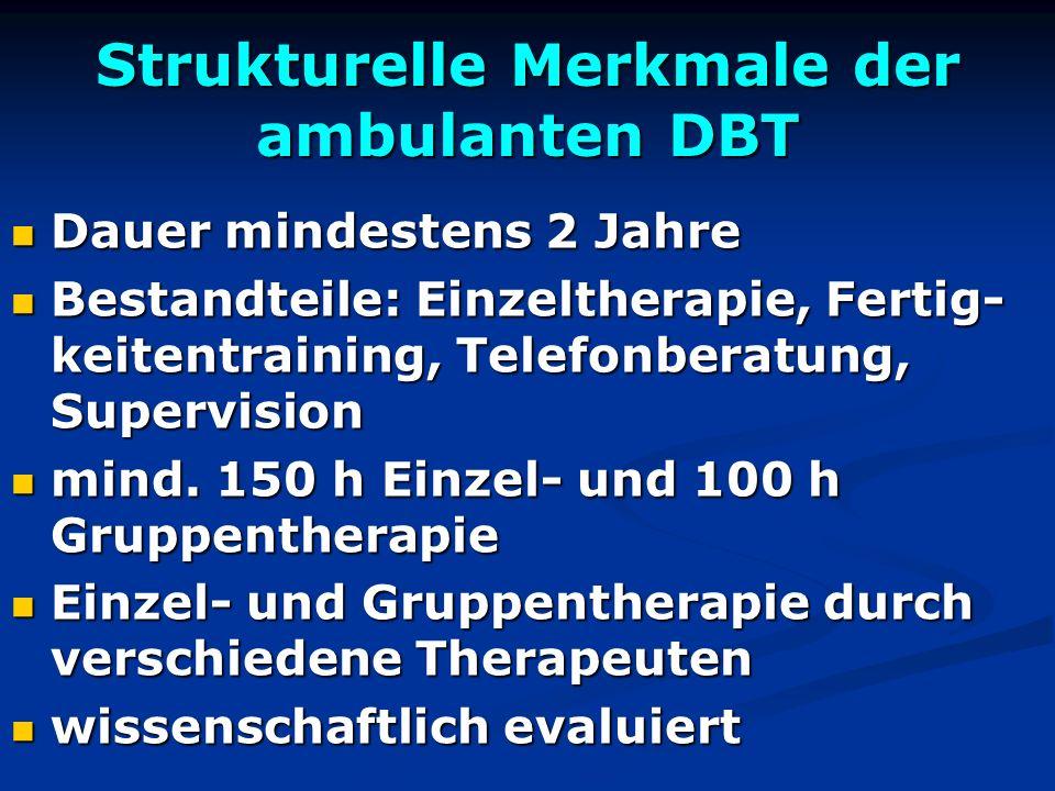 Strukturelle Merkmale der ambulanten DBT Dauer mindestens 2 Jahre Dauer mindestens 2 Jahre Bestandteile: Einzeltherapie, Fertig- keitentraining, Telef