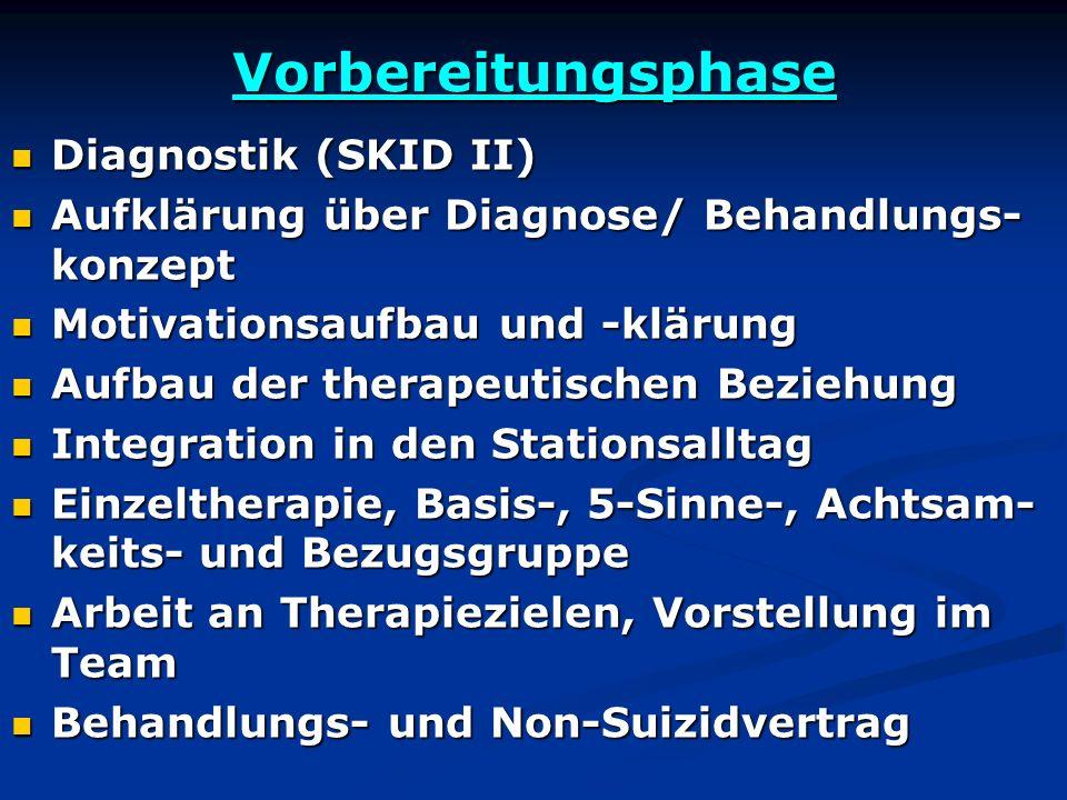 Vorbereitungsphase Diagnostik (SKID II) Diagnostik (SKID II) Aufklärung über Diagnose/ Behandlungs- konzept Aufklärung über Diagnose/ Behandlungs- kon