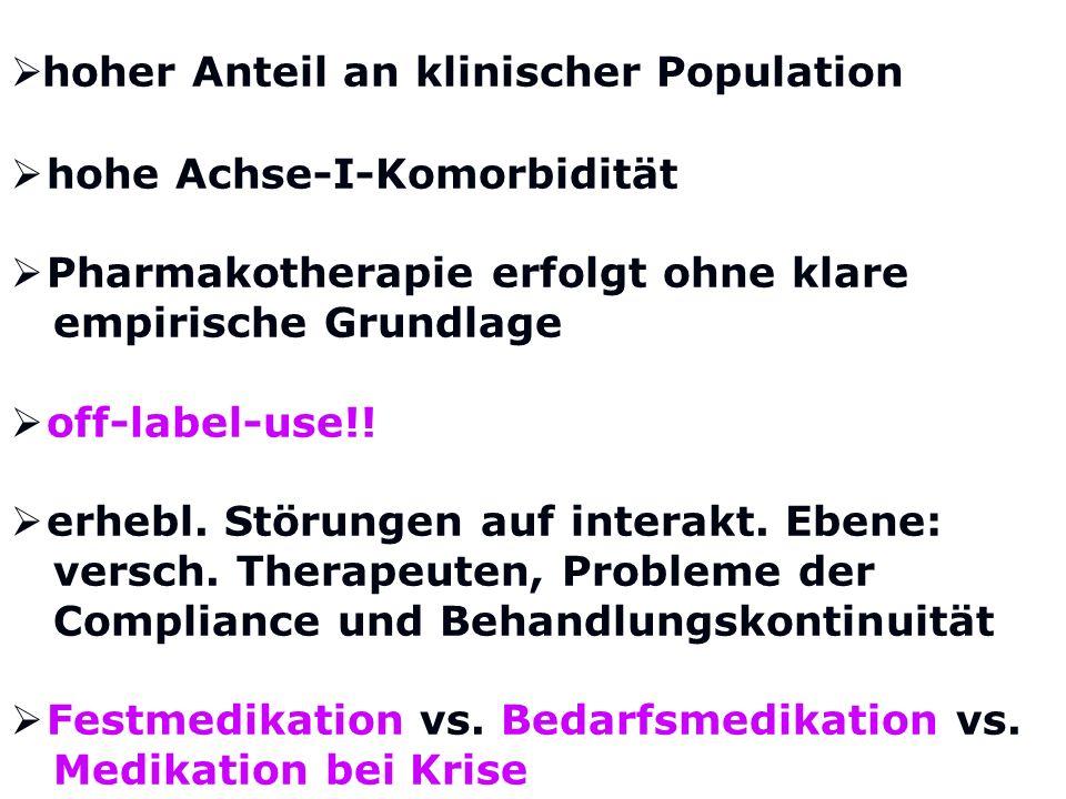 hoher Anteil an klinischer Population hohe Achse-I-Komorbidität Pharmakotherapie erfolgt ohne klare empirische Grundlage off-label-use!! erhebl. Störu