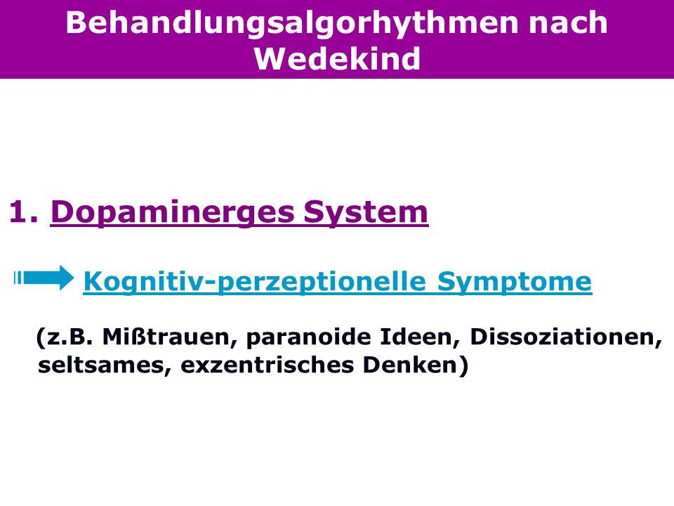 Behandlungsalgorhythmen nach Wedekind 1. Dopaminerges System Kognitiv-perzeptionelle Symptome (z.B. Mißtrauen, paranoide Ideen, Dissoziationen, seltsa