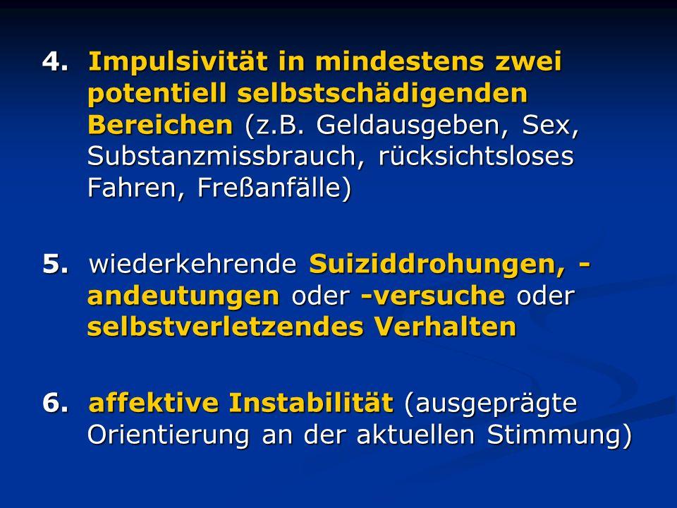 4. Impulsivität in mindestens zwei potentiell selbstschädigenden Bereichen (z.B. Geldausgeben, Sex, Substanzmissbrauch, rücksichtsloses Fahren, Freßan