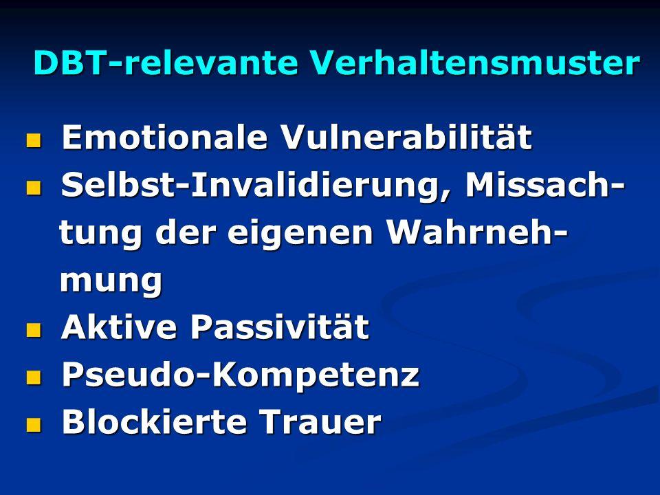 DBT-relevante Verhaltensmuster Emotionale Vulnerabilität Emotionale Vulnerabilität Selbst-Invalidierung, Missach- Selbst-Invalidierung, Missach- tung