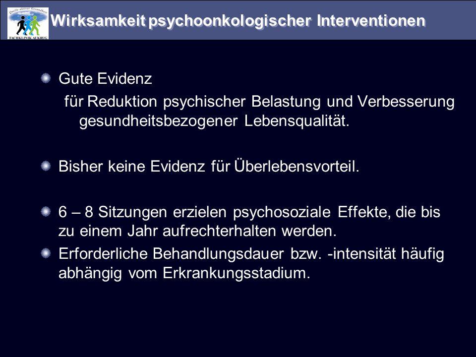 Wirksamkeit psychoonkologischer Interventionen Gute Evidenz für Reduktion psychischer Belastung und Verbesserung gesundheitsbezogener Lebensqualität.