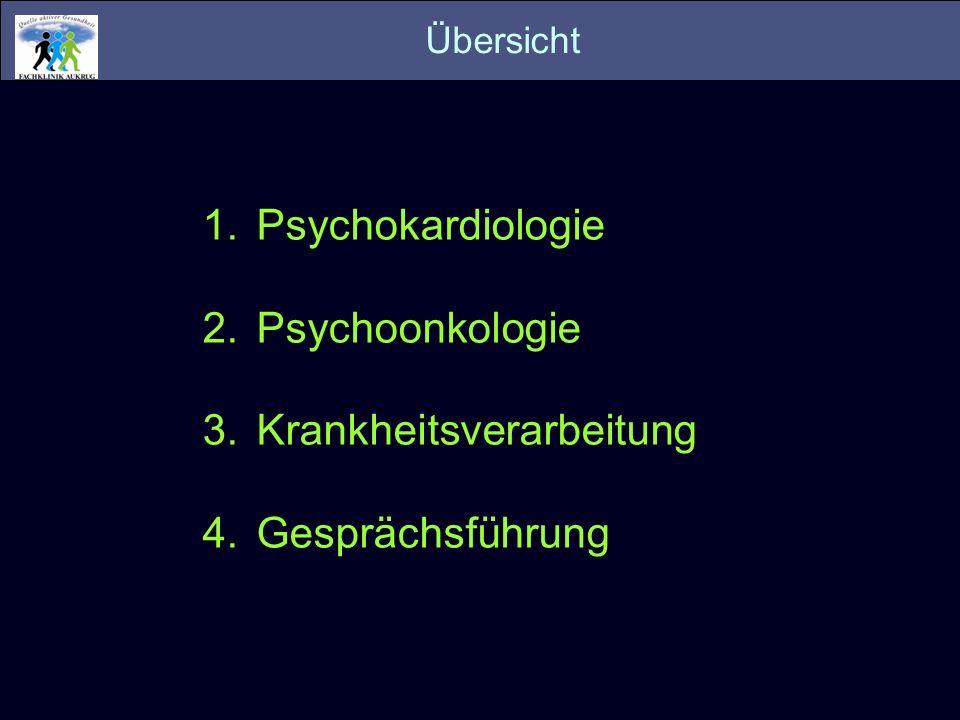 1.Psychokardiologie 2.Psychoonkologie 3.Krankheitsverarbeitung 4.Gesprächsführung Übersicht