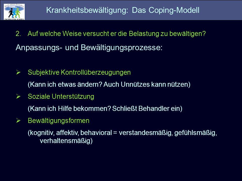 Krankheitsbewältigung: Das Coping-Modell 2.Auf welche Weise versucht er die Belastung zu bewältigen? Anpassungs- und Bewältigungsprozesse: Subjektive