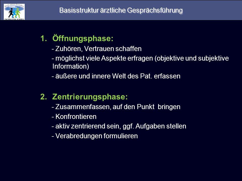 Basisstruktur ärztliche Gesprächsführung 1.Öffnungsphase: - Zuhören, Vertrauen schaffen - möglichst viele Aspekte erfragen (objektive und subjektive I