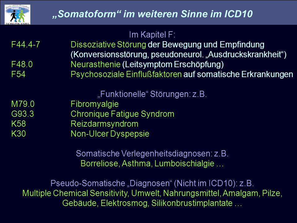 Somatoform im weiteren Sinne im ICD10 Im Kapitel F: F44.4-7Dissoziative Störung der Bewegung und Empfindung (Konversionsstörung, pseudoneurol. Ausdruc