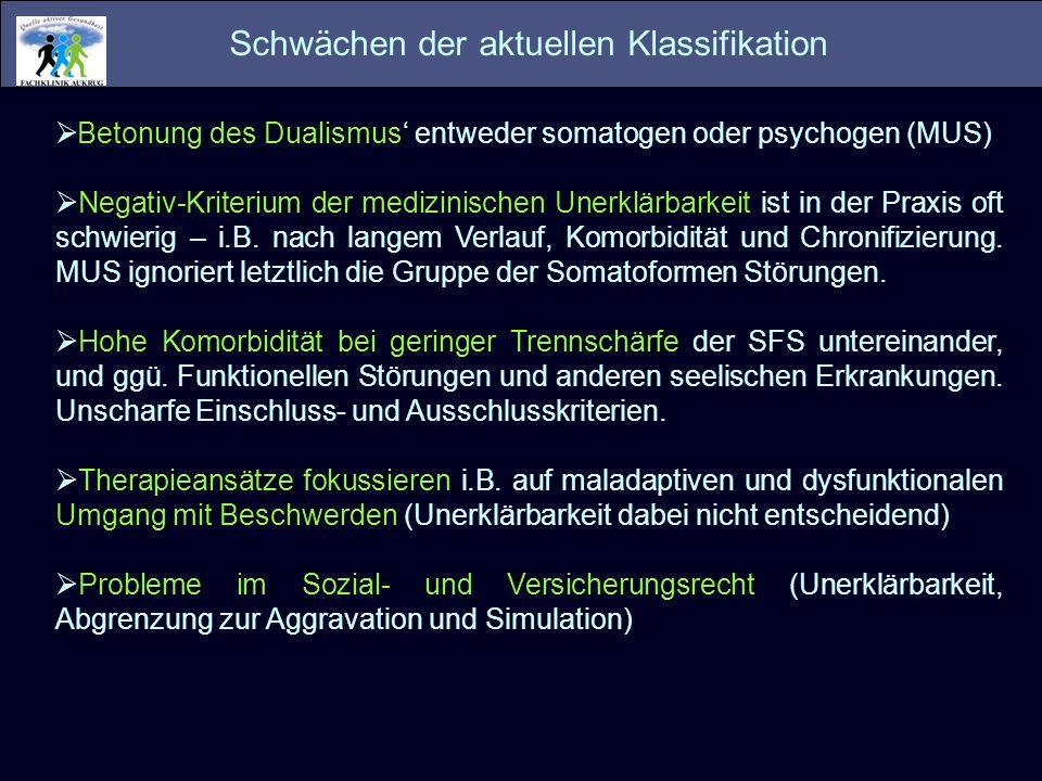 Schwächen der aktuellen Klassifikation Betonung des Dualismus entweder somatogen oder psychogen (MUS) Negativ-Kriterium der medizinischen Unerklärbark
