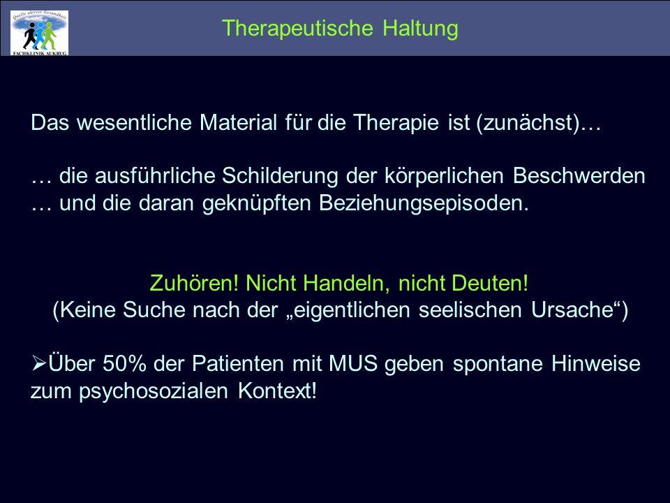 Therapeutische Haltung Das wesentliche Material für die Therapie ist (zunächst)… … die ausführliche Schilderung der körperlichen Beschwerden … und die