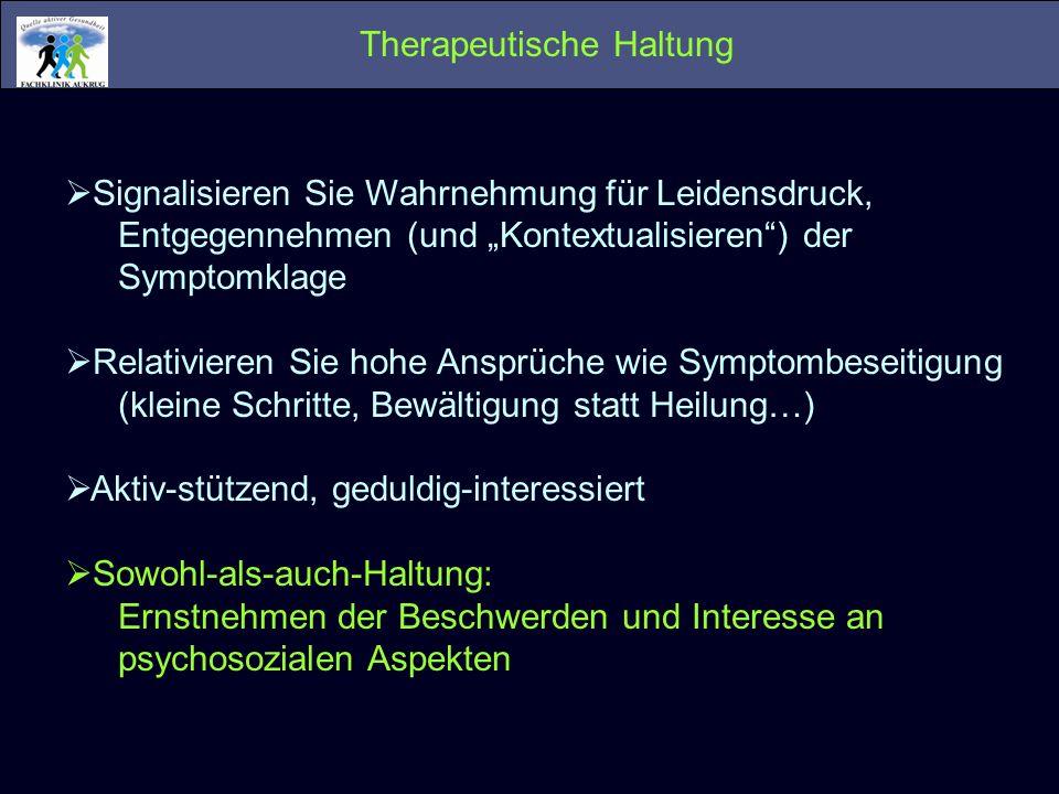 Therapeutische Haltung Signalisieren Sie Wahrnehmung für Leidensdruck, Entgegennehmen (und Kontextualisieren) der Symptomklage Relativieren Sie hohe A