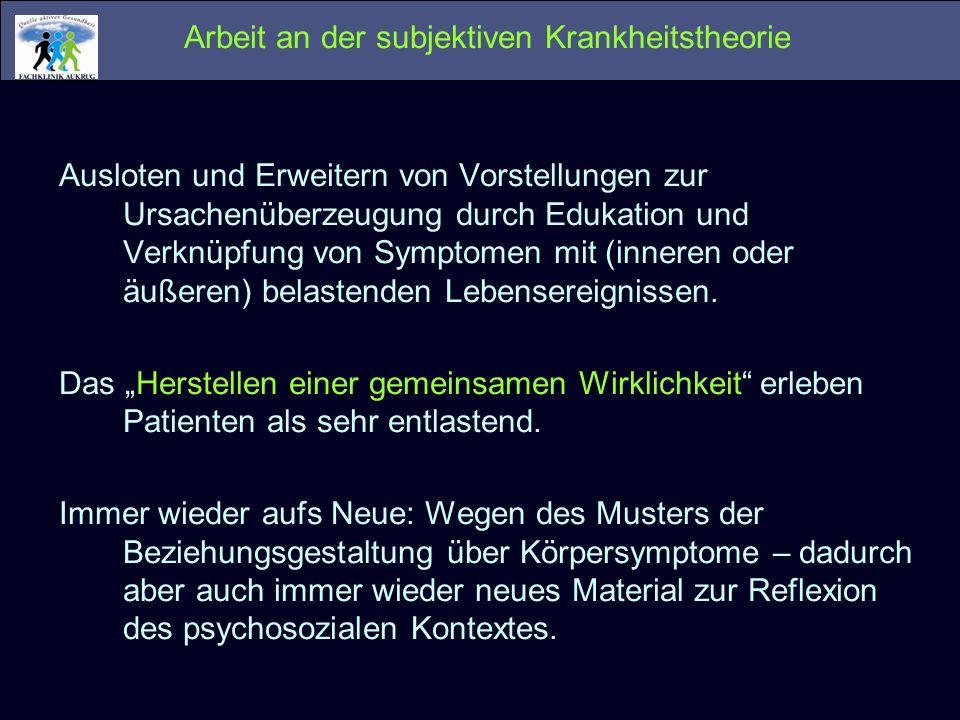 Arbeit an der subjektiven Krankheitstheorie Ausloten und Erweitern von Vorstellungen zur Ursachenüberzeugung durch Edukation und Verknüpfung von Sympt