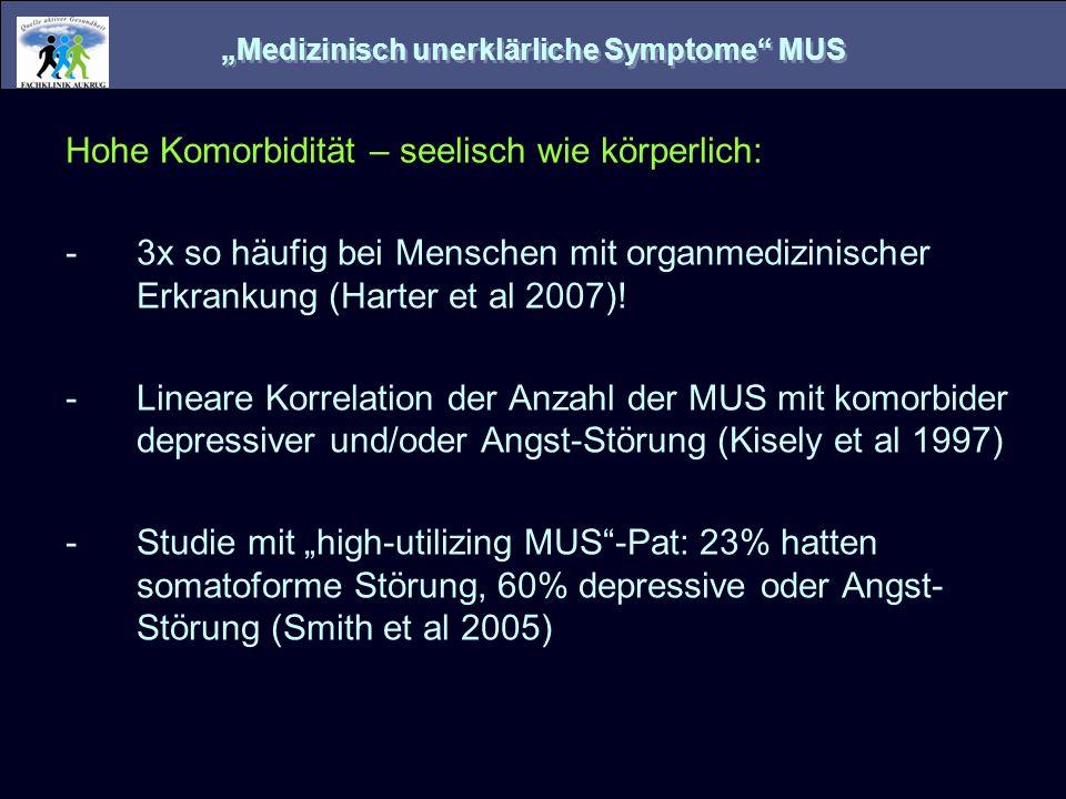 Ätiologiefaktoren somatoformer Störungen Die Störung des Körpers im Kopf Nicht der Körper ist gestört, sondern die zentrale Repräsentanz des Körpers im Gehirn (Als-ob-Schleifen, Damasio 1994) Störungen der Systeme zur Stress- und Schmerz- Verarbeitung (HPA-Achse, serotonerges System, LC-NE- Achse, endogene Opioide, sensibilisierte Pain-Matrix) Neuroanatomische Überlappungen zu den Arealen der Emotions-Verarbeitung (z.B.