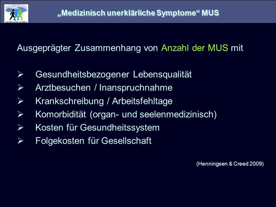 Medizinisch unerklärliche Symptome MUS Ausgeprägter Zusammenhang von Anzahl der MUS mit Gesundheitsbezogener Lebensqualität Arztbesuchen / Inanspruchn