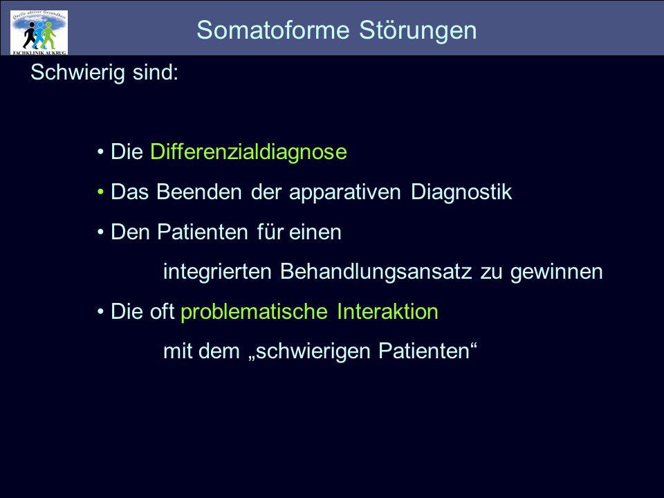 Polysymptomatische Gruppe: Vielzahl von Symptomen mit teilweise wechselndem Fokus Somatisierungsstörung F45.0 Undifferenzierte Somatisierungsstörung F45.1 Oligosymptomatische Gruppe: Umschriebene (Organ, Körperbereich), überwiegend stabile Symptomatik Somatoforme autonome Funktionsstörung F45.3 Anhaltende somatoforme Schmerzstörung F45.4 Sonstige Somatoforme Störung F45.8 Und: Im Vordergrund steht die Angst bzw.