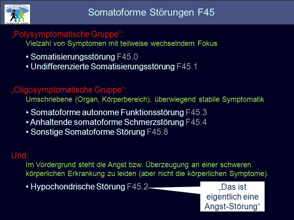 Polysymptomatische Gruppe: Vielzahl von Symptomen mit teilweise wechselndem Fokus Somatisierungsstörung F45.0 Undifferenzierte Somatisierungsstörung F