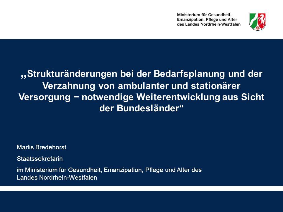 2 Vorbemerkung Zwei der Fragen, die im Rahmen dieses Symposiums behandelt und diskutiert werden sollen, möchte ich in meinem Vortrag aufgreifen: 1.) Welche Steuerungsinstrumente sind geeignet und erforderlich, um in allen Regionen eine wortortnahe Versorgung sicherzustellen.