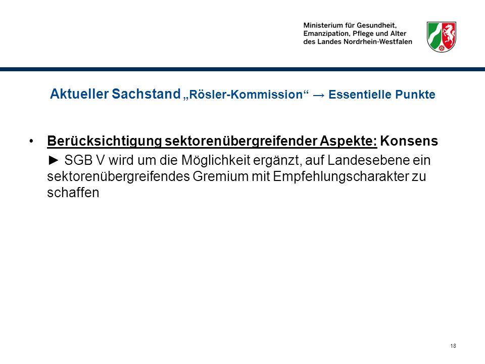 18 Aktueller Sachstand Rösler-Kommission Essentielle Punkte Berücksichtigung sektorenübergreifender Aspekte: Konsens SGB V wird um die Möglichkeit erg