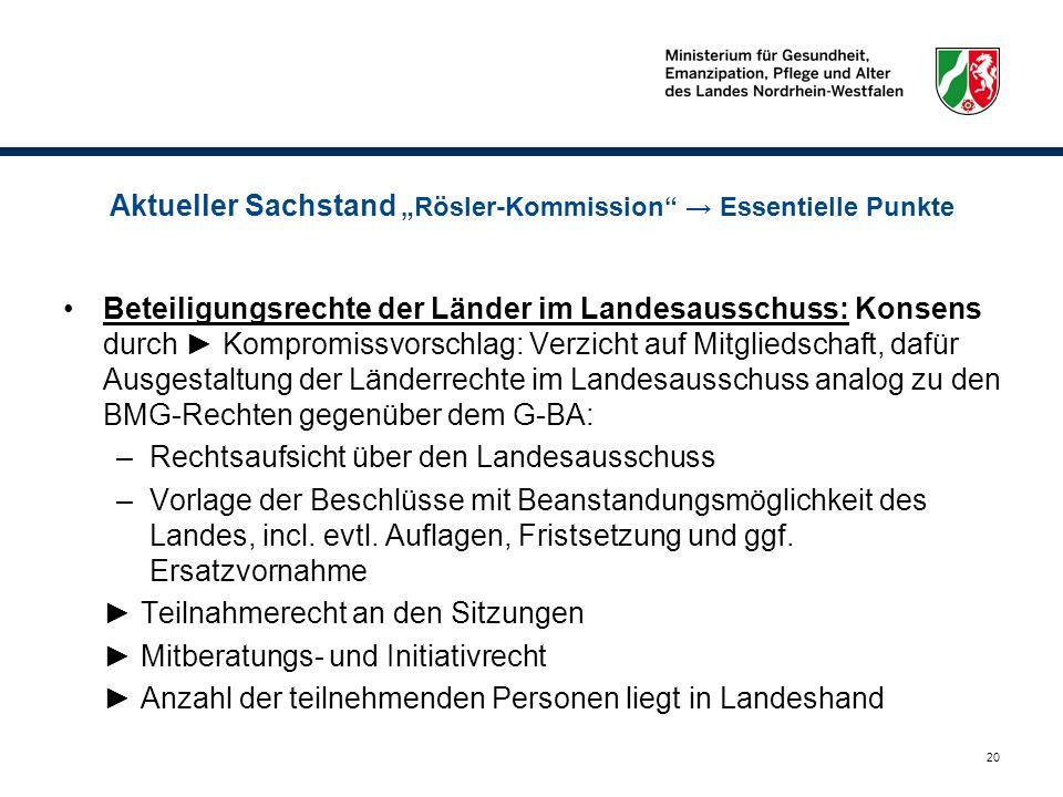 20 Aktueller Sachstand Rösler-Kommission Essentielle Punkte Beteiligungsrechte der Länder im Landesausschuss: Konsens durch Kompromissvorschlag: Verzi