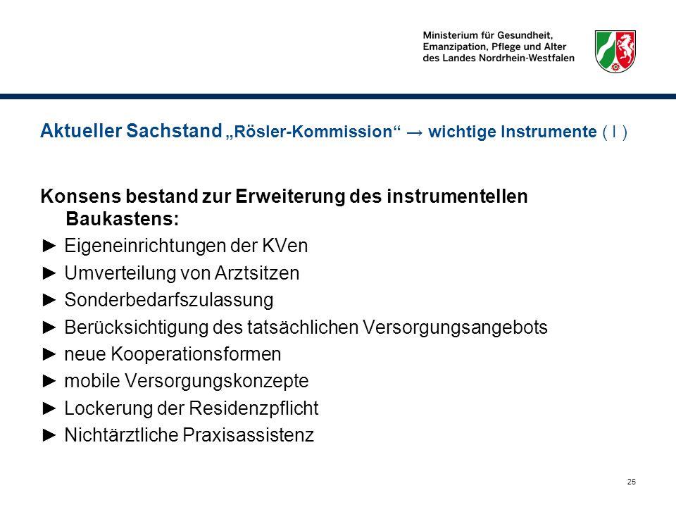 25 Aktueller Sachstand Rösler-Kommission wichtige Instrumente ( I ) Konsens bestand zur Erweiterung des instrumentellen Baukastens: Eigeneinrichtungen