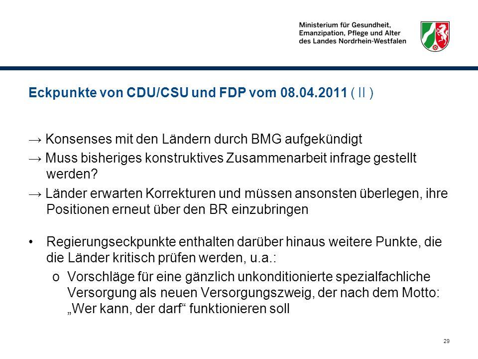 29 Eckpunkte von CDU/CSU und FDP vom 08.04.2011 ( II ) Konsenses mit den Ländern durch BMG aufgekündigt Muss bisheriges konstruktives Zusammenarbeit i