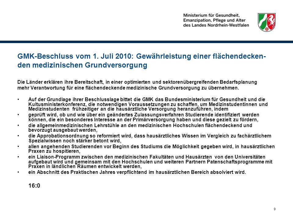 9 GMK-Beschluss vom 1. Juli 2010: Gewährleistung einer flächendecken- den medizinischen Grundversorgung Die Länder erklären ihre Bereitschaft, in eine