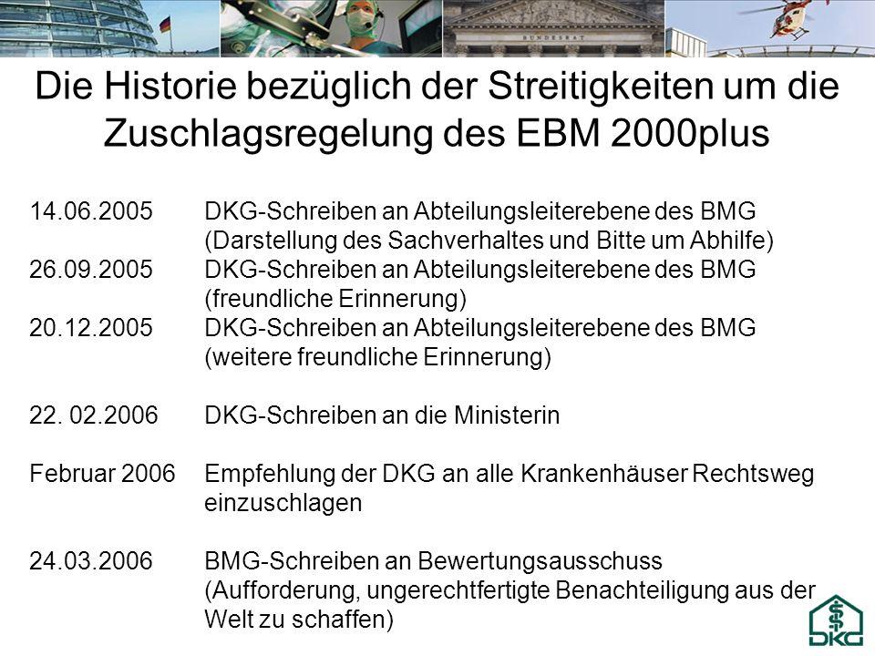 Die Historie bezüglich der Streitigkeiten um die Zuschlagsregelung des EBM 2000plus 14.06.2005DKG-Schreiben an Abteilungsleiterebene des BMG (Darstell