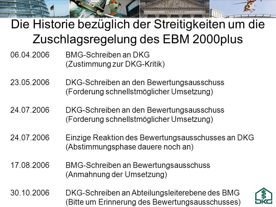 Die Historie bezüglich der Streitigkeiten um die Zuschlagsregelung des EBM 2000plus 06.04.2006BMG-Schreiben an DKG (Zustimmung zur DKG-Kritik) 23.05.2