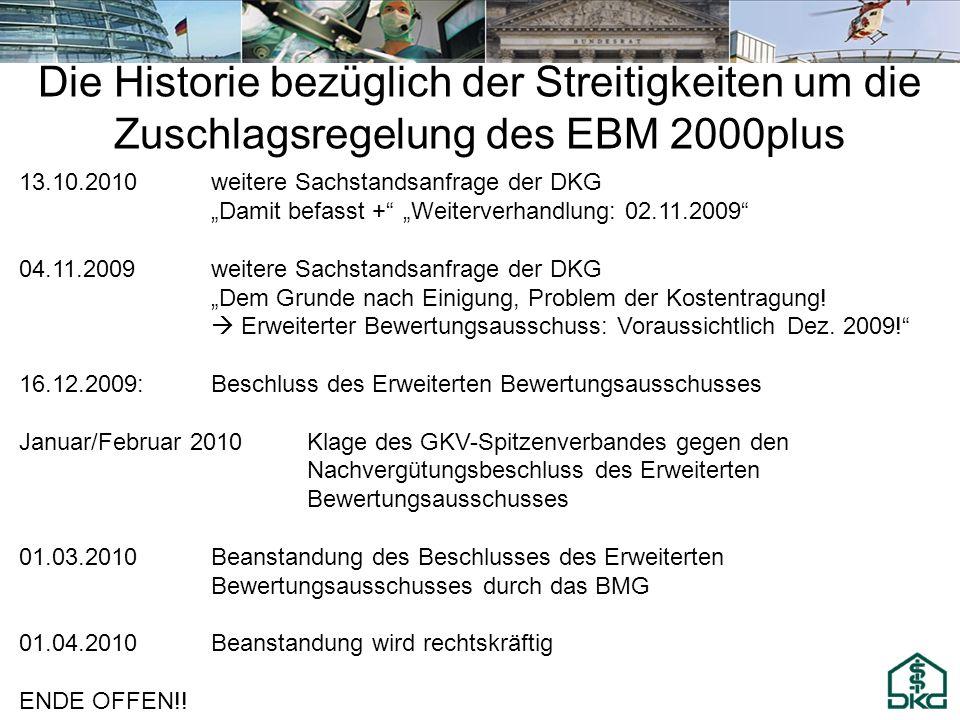 13.10.2010weitere Sachstandsanfrage der DKG Damit befasst + Weiterverhandlung: 02.11.2009 04.11.2009weitere Sachstandsanfrage der DKG Dem Grunde nach