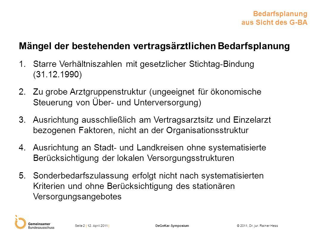 Mängel der bestehenden vertragsärztlichen Bedarfsplanung 1.Starre Verhältniszahlen mit gesetzlicher Stichtag-Bindung (31.12.1990) 2.Zu grobe Arztgrupp