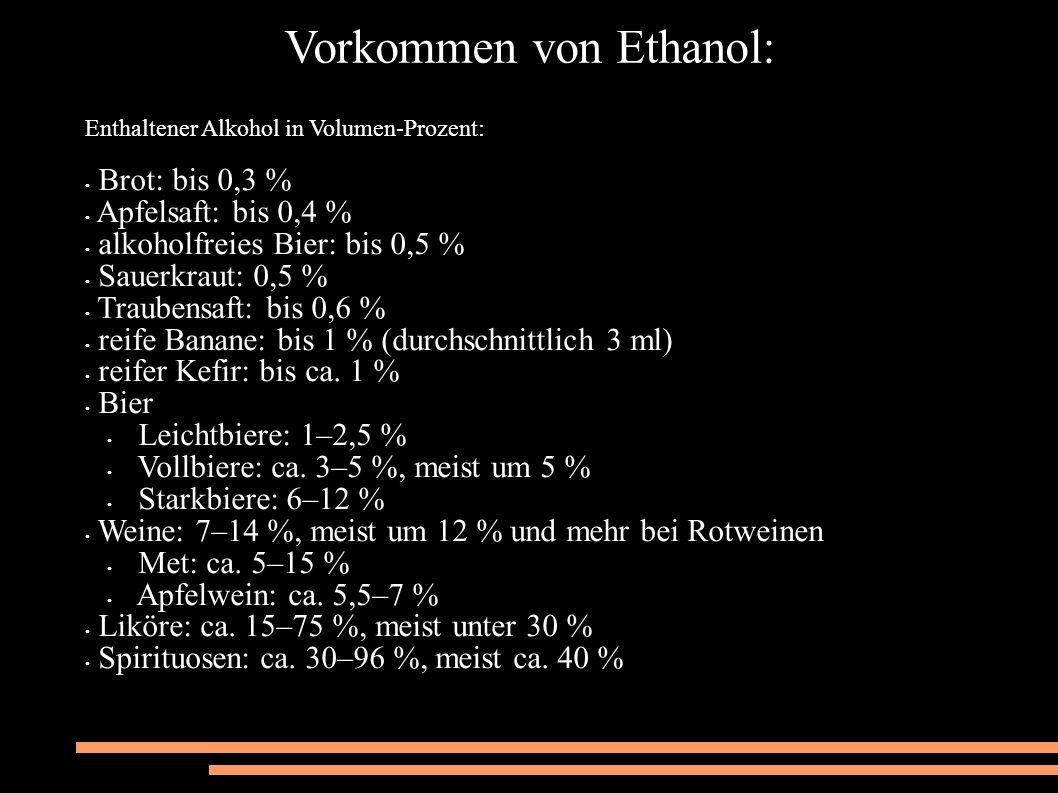 Vorkommen von Ethanol: Enthaltener Alkohol in Volumen-Prozent: Brot: bis 0,3 % Apfelsaft: bis 0,4 % alkoholfreies Bier: bis 0,5 % Sauerkraut: 0,5 % Traubensaft: bis 0,6 % reife Banane: bis 1 % (durchschnittlich 3 ml) reifer Kefir: bis ca.