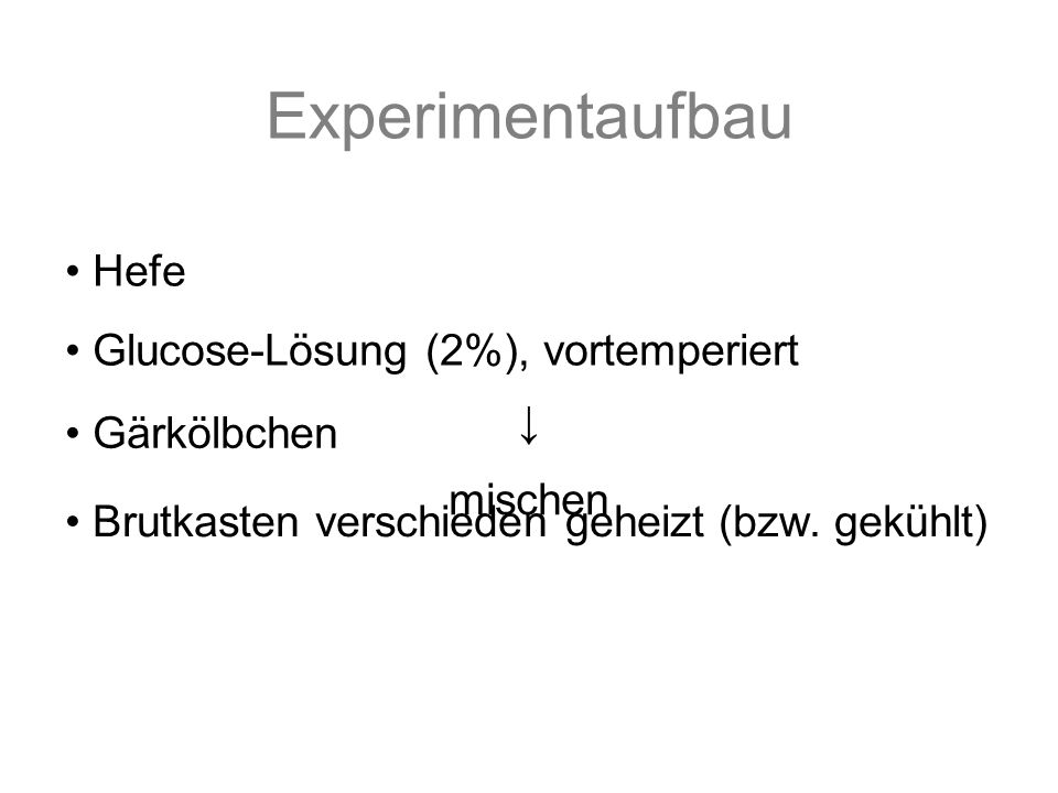 Experimentaufbau Hefe Glucose-Lösung (2%), vortemperiert mischen Gärkölbchen Brutkasten verschieden geheizt (bzw.