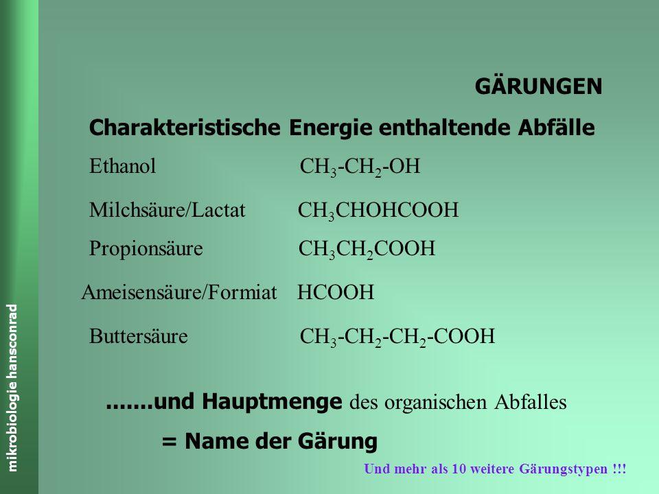 mikrobiologie hansconrad GÄRUNGEN Charakteristische Energie enthaltende Abfälle Ethanol CH 3 -CH 2 -OH Milchsäure/Lactat CH 3 CHOHCOOH Propionsäure CH 3 CH 2 COOH Ameisensäure/Formiat HCOOH Buttersäure CH 3 -CH 2 -CH 2 -COOH.......und Hauptmenge des organischen Abfalles = Name der Gärung Und mehr als 10 weitere Gärungstypen !!!